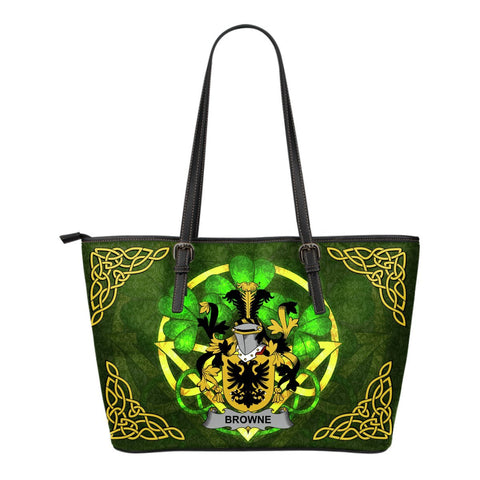 Irish Handbags, Browne Family Crest Handbags Celtic Shamrock Tote Bag Small Size A7