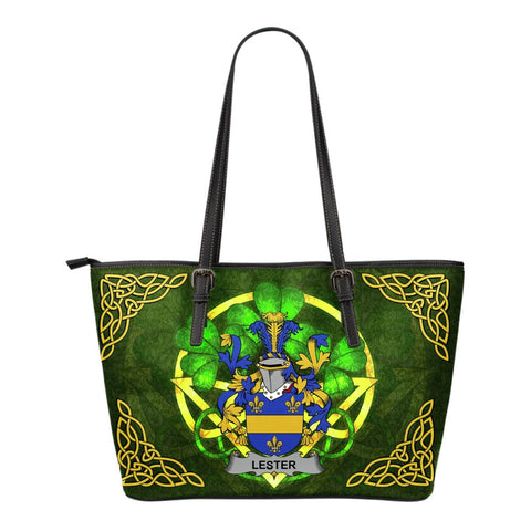 Irish Handbags, Lester or McAlester Family Crest Handbags Celtic Shamrock Tote Bag Small Size A7