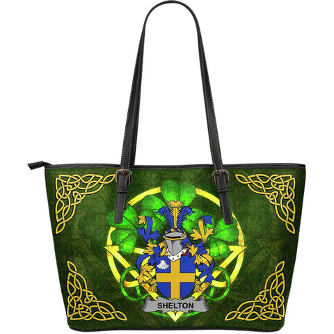 Irish Handbags, Shelton Family Crest Handbags Celtic Shamrock Tote Bag Large Size A7