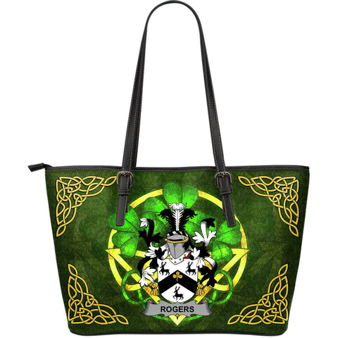 Irish Handbags, Rogers Family Crest Handbags Celtic Shamrock Tote Bag Large Size A7