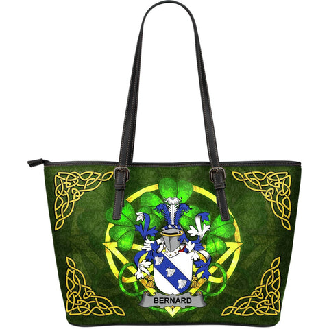 Irish Handbags, Bernard Family Crest Handbags Celtic Shamrock Tote Bag Large Size A7