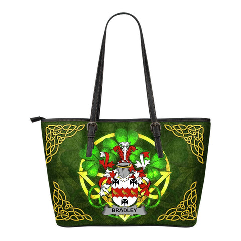 Irish Handbags, Bradley Family Crest Handbags Celtic Shamrock Tote Bag Small Size A7