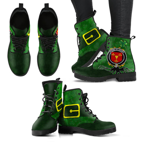 Irish Boots, Adams Family Crest Shamrock Leather Boots
