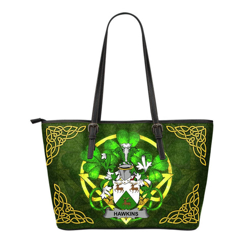 Irish Handbags, Hawkins or Haughan Family Crest Handbags Celtic Shamrock Tote Bag Small Size A7