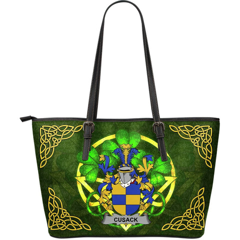 Irish Handbags, Cusack Family Crest Handbags Celtic Shamrock Tote Bag Large Size A7