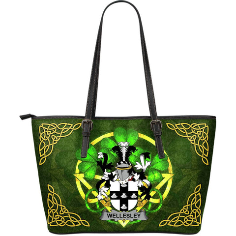 Irish Handbags, Wellesley Family Crest Handbags Celtic Shamrock Tote Bag Large Size A7