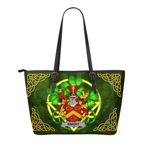 Irish Handbags, Knight Family Crest Handbags Celtic Shamrock Tote Bag Small Size A7