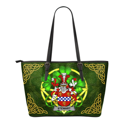Irish Handbags, Stewart Family Crest Handbags Celtic Shamrock Tote Bag Small Size A7