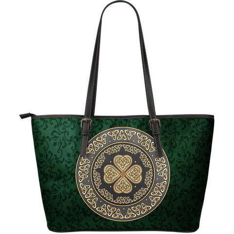 Ireland Large Leather Tote Bag Celtic Four Leaf Clover  TH6