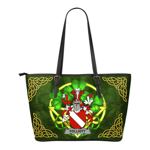 Irish Handbags, Folliott Family Crest Handbags Celtic Shamrock Tote Bag Small Size A7