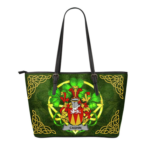 Irish Handbags, Cashin or McCashine Family Crest Handbags Celtic Shamrock Tote Bag Small Size A7