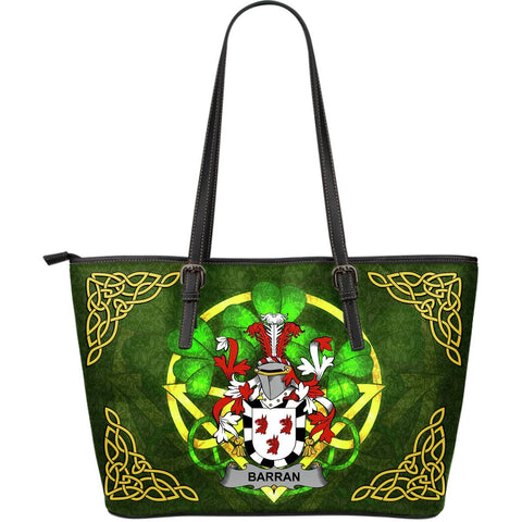 Irish Handbags, Barran Family Crest Handbags Celtic Shamrock Tote Bag Large Size A7