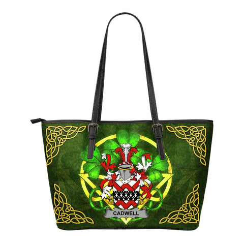 Irish Handbags, Cadwell or Caddell Family Crest Handbags Celtic Shamrock Tote Bag Small Size A7