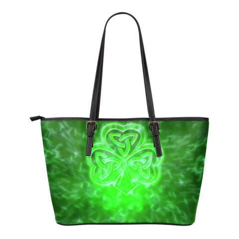 Celtic Shamrock Illustration™ Small Leather Tote Bag TH7