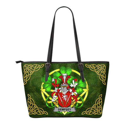 Irish Handbags, Dempsey or O'Dempsey Family Crest Handbags Celtic Shamrock Tote Bag Small Size A7