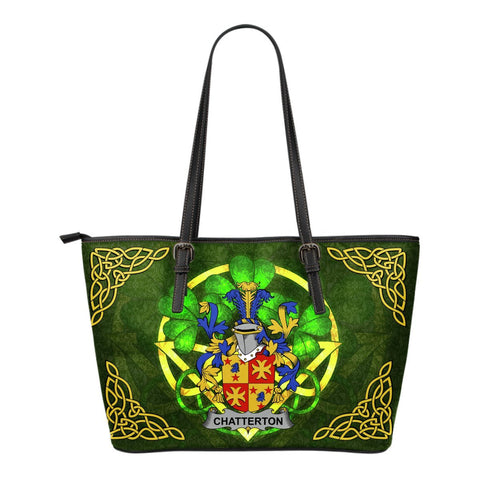 Irish Handbags, Chatterton Family Crest Handbags Celtic Shamrock Tote Bag Small Size A7