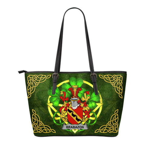 Irish Handbags, Brabazon Family Crest Handbags Celtic Shamrock Tote Bag Small Size A7