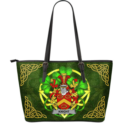 Irish Handbags, Knight Family Crest Handbags Celtic Shamrock Tote Bag Large Size A7