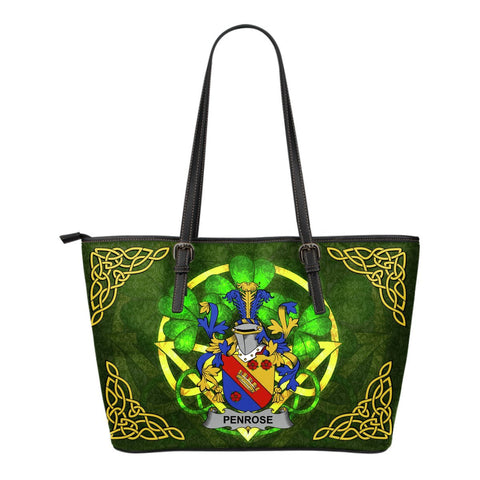 Irish Handbags, Penrose Family Crest Handbags Celtic Shamrock Tote Bag Small Size A7