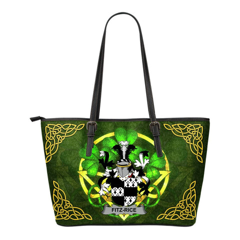 Irish Handbags, Fitz-Rice Family Crest Handbags Celtic Shamrock Tote Bag Small Size A7