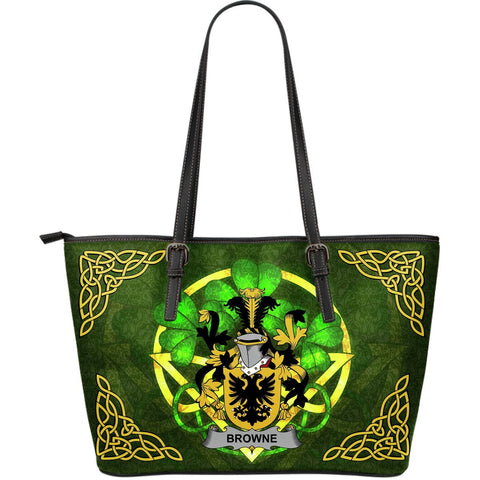 Irish Handbags, Browne Family Crest Handbags Celtic Shamrock Tote Bag Large Size A7