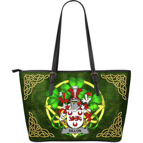 Irish Handbags, Dillon Family Crest Handbags Celtic Shamrock Tote Bag Large Size A7
