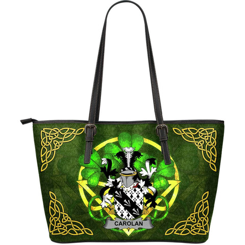 Irish Handbags, Carolan Family Crest Handbags Celtic Shamrock Tote Bag Large Size A7