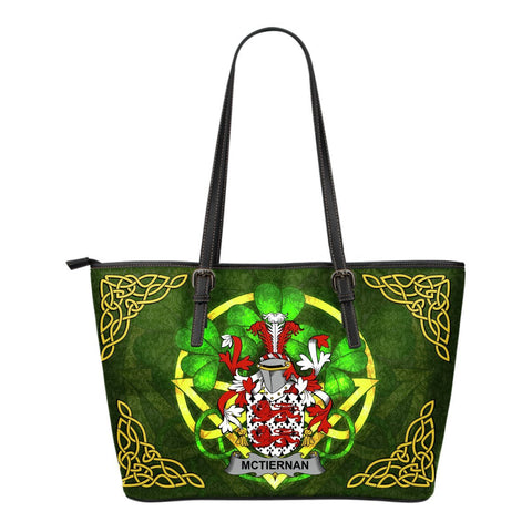 Irish Handbags, McTiernan or Kiernan Family Crest Handbags Celtic Shamrock Tote Bag Small Size A7
