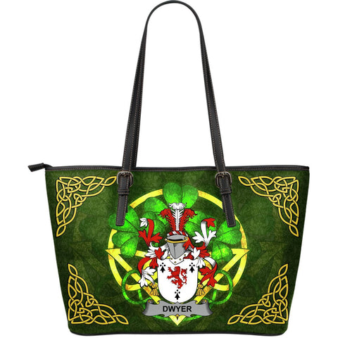 Irish Handbags, Dwyer or O'Dwyer Family Crest Handbags Celtic Shamrock Tote Bag Large Size A7