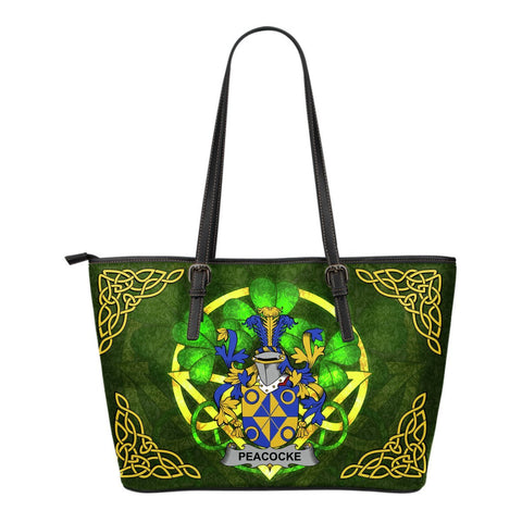Irish Handbags, Peacocke Family Crest Handbags Celtic Shamrock Tote Bag Small Size A7