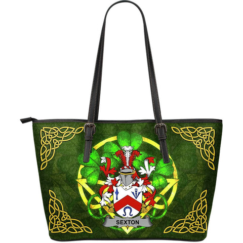 Irish Handbags, Sexton Family Crest Handbags Celtic Shamrock Tote Bag Large Size A7