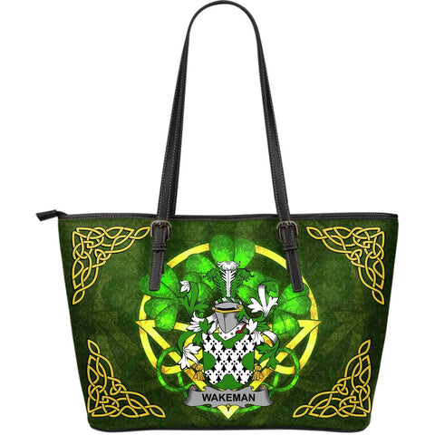 Irish Handbags, Wakeman Family Crest Handbags Celtic Shamrock Tote Bag Large Size A7