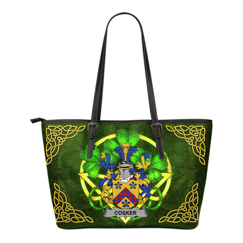 Irish Handbags, Cosker or McCosker Family Crest Handbags Celtic Shamrock Tote Bag Small Size A7