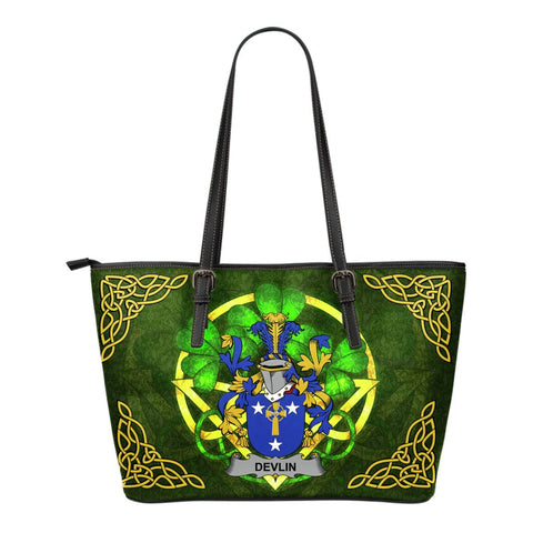 Irish Handbags, Devlin or O'Devlin Family Crest Handbags Celtic Shamrock Tote Bag Small Size A7