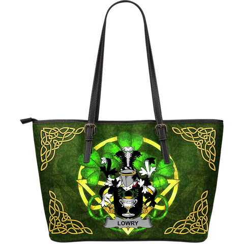 Irish Handbags, Lowry or Lavery Family Crest Handbags Celtic Shamrock Tote Bag Large Size A7