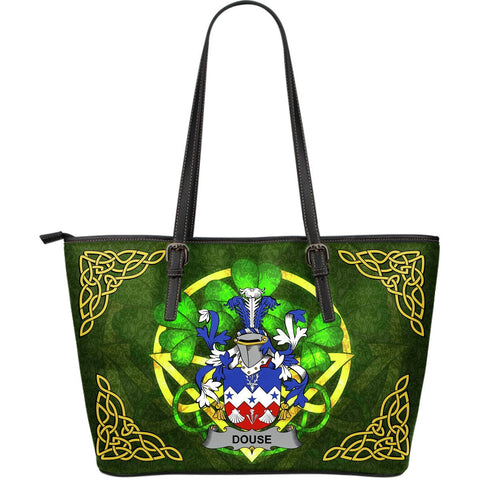 Irish Handbags, Douse or Dowse Family Crest Handbags Celtic Shamrock Tote Bag Large Size A7