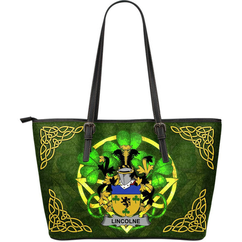 Irish Handbags, Lincolne Family Crest Handbags Celtic Shamrock Tote Bag Large Size A7
