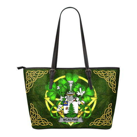 Irish Handbags, McAlpine or MacAlpin Family Crest Handbags Celtic Shamrock Tote Bag Small Size A7