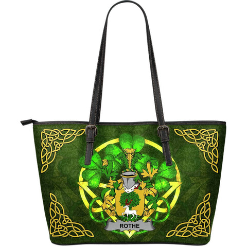 Irish Handbags, Rothe Family Crest Handbags Celtic Shamrock Tote Bag Large Size A7