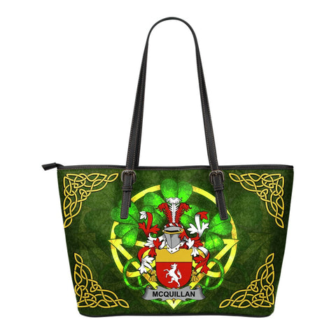 Irish Handbags, Quillan or McQuillan Family Crest Handbags Celtic Shamrock Tote Bag Small Size A7