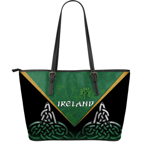 Irish Shamrock Large Leather Tote, Trinity Knot Leather Tote K4