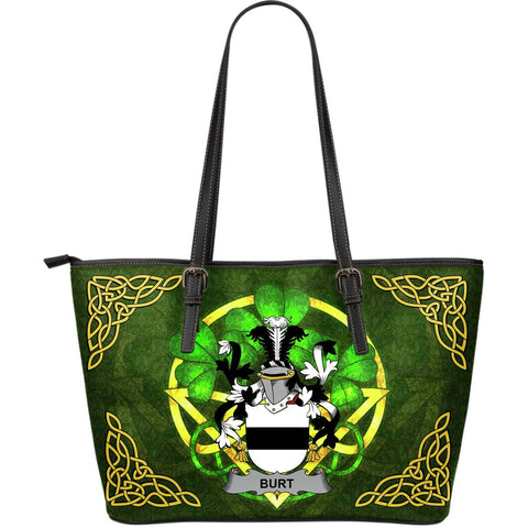 Irish Handbags, Burt or Birt Family Crest Handbags Celtic Shamrock Tote Bag Large Size A7