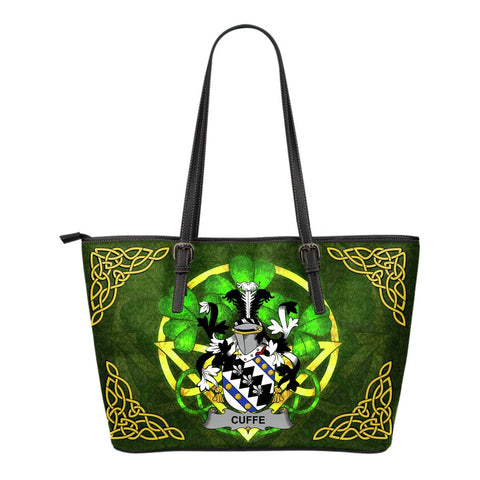 Irish Handbags, Cuffe Family Crest Handbags Celtic Shamrock Tote Bag Small Size A7
