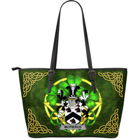 Irish Handbags, McPierce or Pierce Family Crest Handbags Celtic Shamrock Tote Bag Large Size A7
