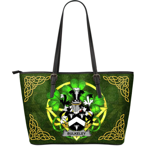 Irish Handbags, Bulkeley Family Crest Handbags Celtic Shamrock Tote Bag Large Size A7