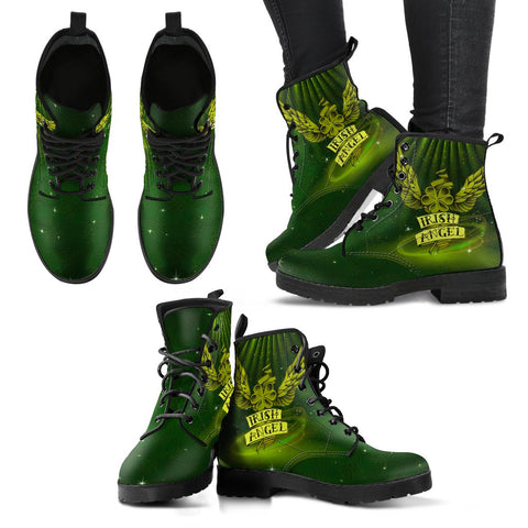 Image of Shamrock Angel Lucky Leather Boots For Women, Shamrock Leather Boots