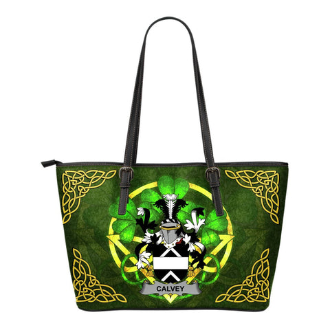 Irish Handbags, Calvey or McElwee Family Crest Handbags Celtic Shamrock Tote Bag Small Size A7