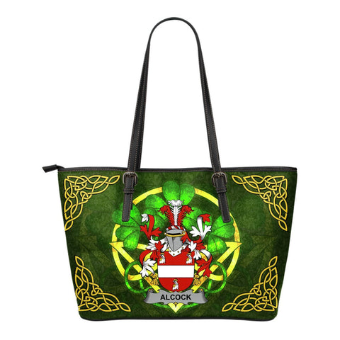Irish Handbags, Alcock Family Crest Handbags Celtic Shamrock Tote Bag Small Size A7