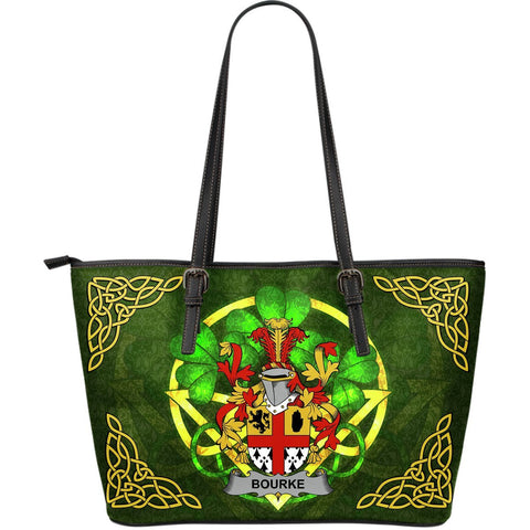Irish Handbags, Bourke Family Crest Handbags Celtic Shamrock Tote Bag Large Size A7