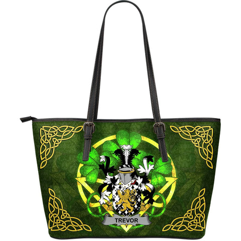Irish Handbags, Trevor Family Crest Handbags Celtic Shamrock Tote Bag Large Size A7